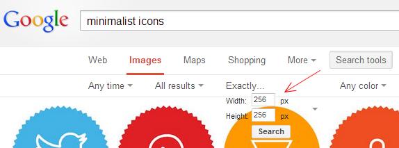 багнутая панелька поиска по точным размерам изображений