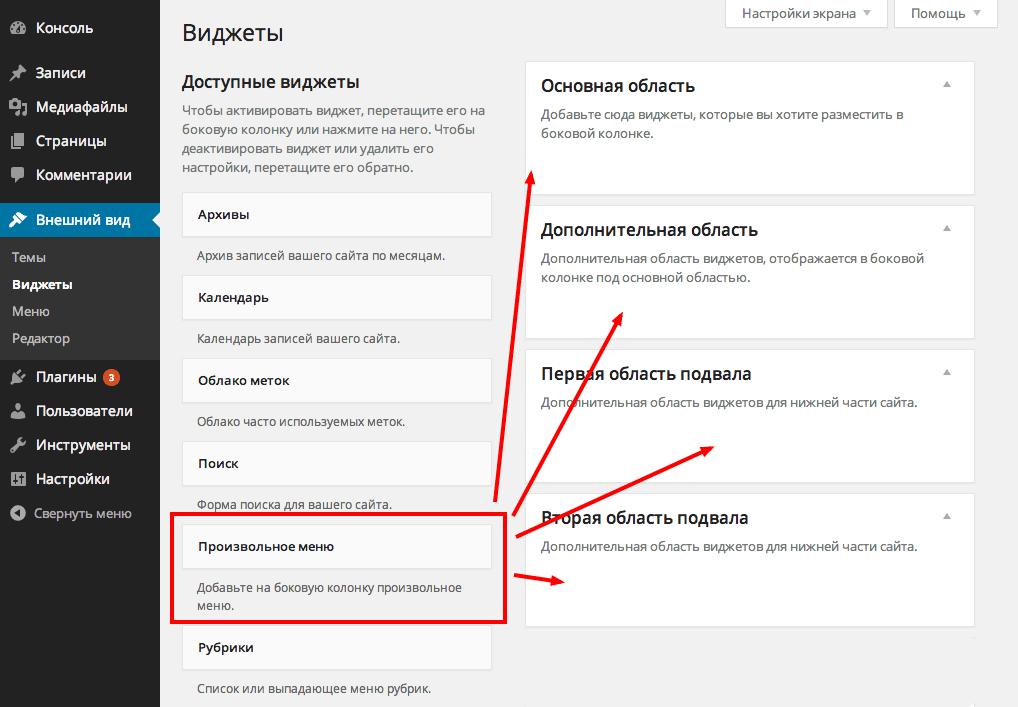 Виджет меню в WordPress