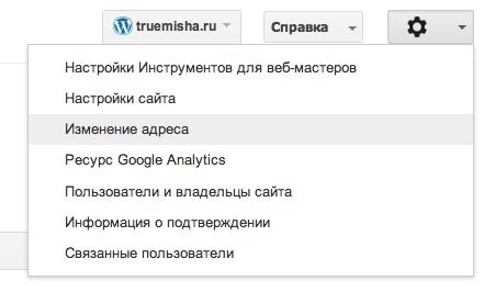 Изменение адреса в Google Webmaster Tools