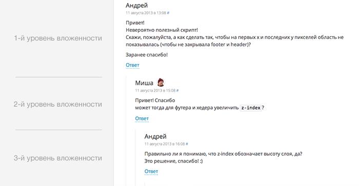 пример древовидных комментариев в WordPress