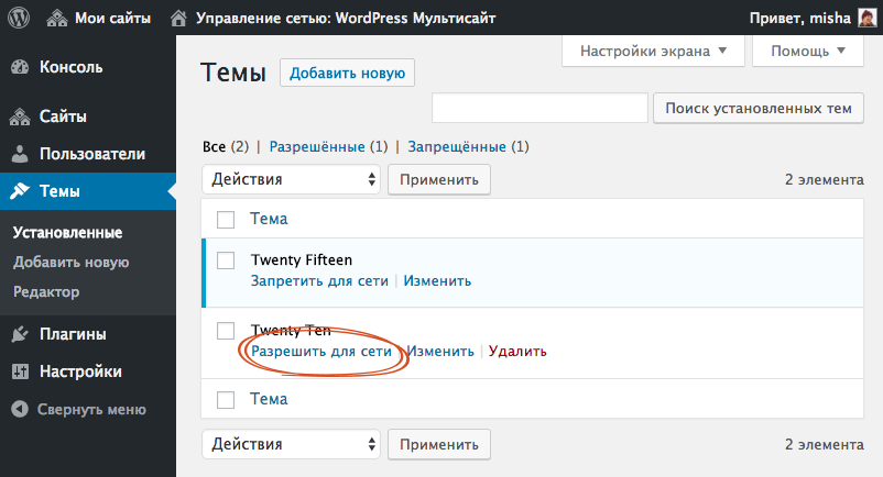 Разрешить тему для сети WordPress Multisite