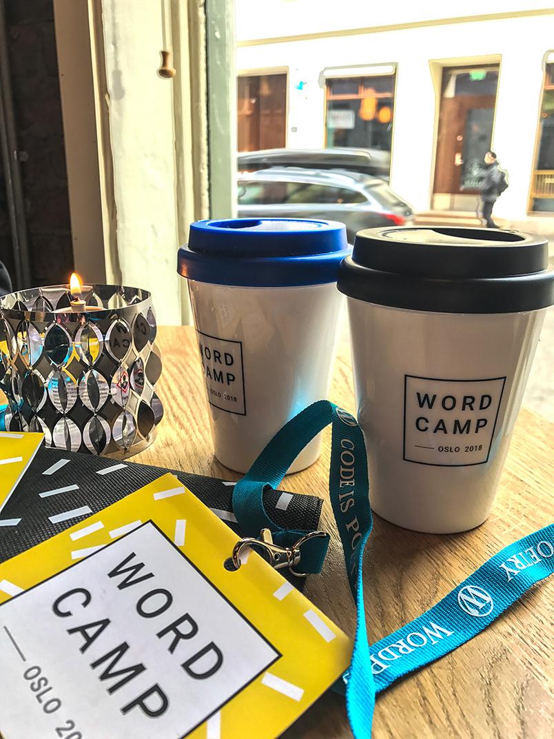 Термокружки вместо футболок на WordCamp Oslo