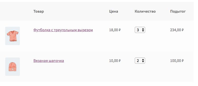Поле выбора количества товара в корзине WooCommerce